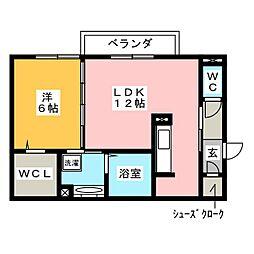 D-room八幡町野路[1階]の間取り