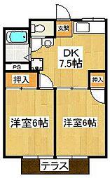 千葉県市川市中山3の賃貸アパートの間取り