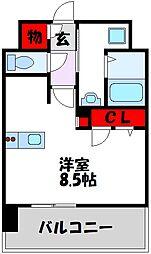 西鉄天神大牟田線 高宮駅 徒歩21分の賃貸マンション 4階1Kの間取り