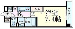 Luxe江坂II 10階1Kの間取り