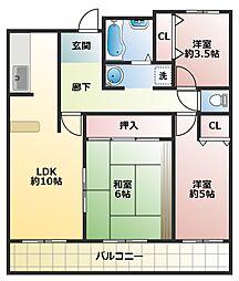 大阪府八尾市宮町6丁目の賃貸マンションの間取り