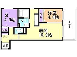 CITY RESIDENCE 幌平橋 1階1SLDKの間取り