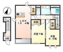 愛知県名古屋市中川区打出1丁目の賃貸アパートの間取り