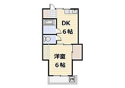 北田フラワーハウス[103号室]の間取り