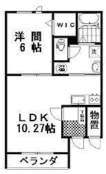 クレストIII 1階1LDKの間取り