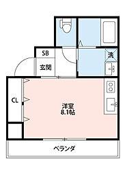 セレコート寝屋川本町 6階ワンルームの間取り