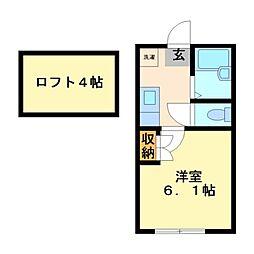 神奈川県川崎市高津区下作延2丁目の賃貸アパートの間取り