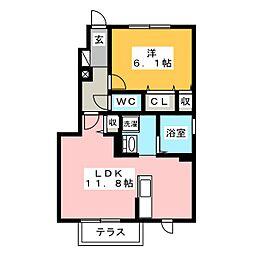 ガーデンコート[1階]の間取り