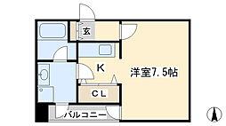 ボヌール三萩野[5階]の間取り