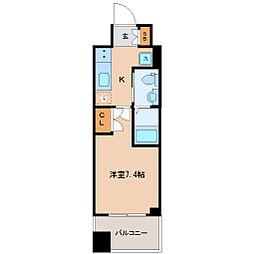 仙台市営南北線 勾当台公園駅 徒歩9分の賃貸マンション 12階1Kの間取り