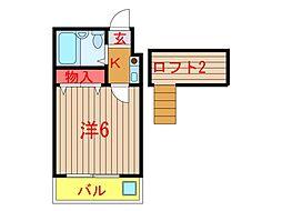 クレセントハウス (0021)[203号室]の間取り