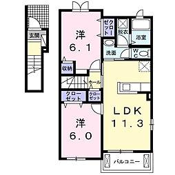 ドゥ アンジュ[2階]の間取り