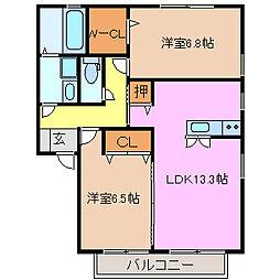 セジュールマホロA棟[A102号室号室]の間取り