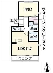 豊田パライソ R[2階]の間取り