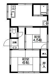 一荘[2階号室]の間取り