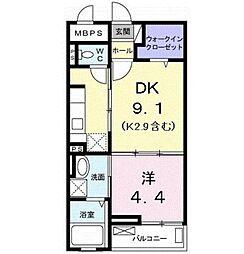 西武拝島線 西武立川駅 徒歩14分の賃貸マンション 2階1DKの間取り