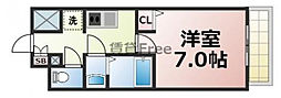 近鉄大阪線 今里駅 徒歩7分の賃貸マンション 9階1Kの間取り