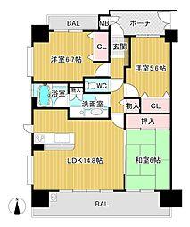 アルス八尾本町[601号室]の間取り
