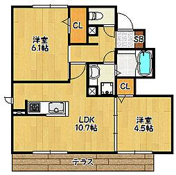 兵庫県神戸市北区杉尾台1丁目の賃貸アパートの間取り