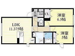 北海道札幌市東区北48条東19丁目の賃貸アパートの間取り