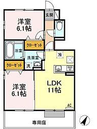 岡山電気軌道清輝橋線 清輝橋駅 4.6kmの賃貸アパート 1階2LDKの間取り