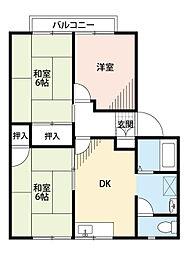 福岡県中間市大字垣生の賃貸アパートの間取り