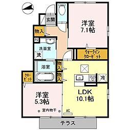 埼玉県新座市畑中2丁目の賃貸アパートの間取り