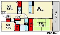 ヒルクレスト博多駅[7階]の間取り
