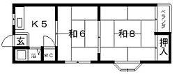 第3万代マンション[2階]の間取り