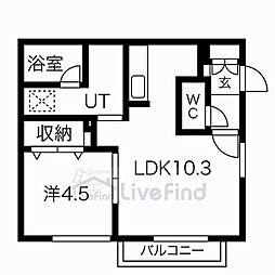 札幌市営東豊線 月寒中央駅 徒歩7分の賃貸マンション 4階1LDKの間取り