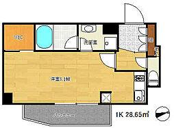 アーバネックス新神戸 3階1Kの間取り