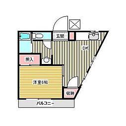 桐ノ木ハイツ[201号室]の間取り