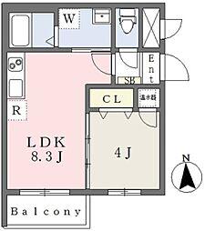 Lien平野本町 3階1LDKの間取り