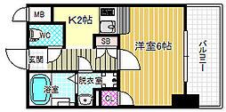 Osaka Metro千日前線 野田阪神駅 徒歩7分の賃貸マンション 5階ワンルームの間取り