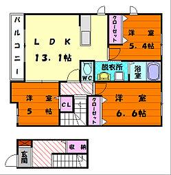 福岡県福岡市東区八田2丁目の賃貸アパートの間取り