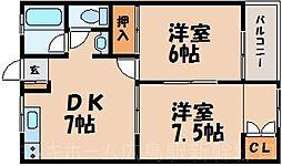 広島県広島市東区牛田早稲田2丁目の賃貸マンションの間取り