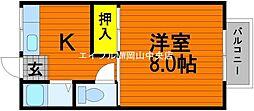 岡山県岡山市中区西川原丁目なしの賃貸アパートの間取り