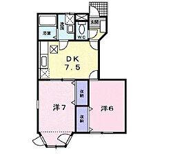 JR東海道本線 鴨宮駅 バス10分 下堀入口下車 徒歩18分の賃貸アパート 1階2DKの間取り