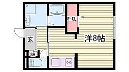 JR播但線 京口駅 徒歩28分の賃貸アパート 2階1Kの間取り