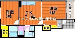 JR宇野線 迫川駅 徒歩4分の賃貸アパート 1階2DKの間取り