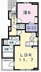 兵庫県高砂市米田町米田新の賃貸アパートの間取り