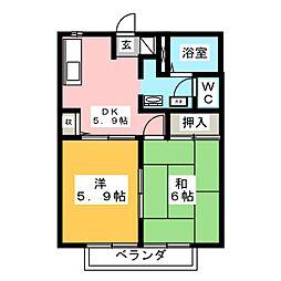 フレグランスOF鷺坂 B棟[2階]の間取り