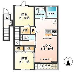 静岡県浜松市浜北区西美薗の賃貸アパートの間取り