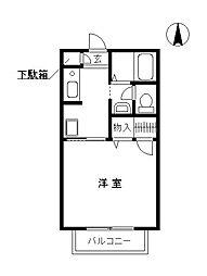 栃木県佐野市浅沼町の賃貸アパートの間取り
