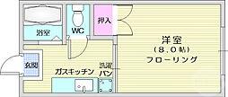 仙台市地下鉄東西線 八木山動物公園駅 徒歩12分の賃貸アパート 2階1Kの間取り