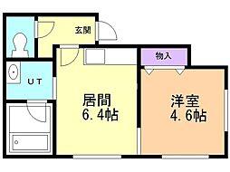 ラ・グラン澄川1番館 2階1DKの間取り