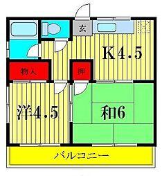 越川ハイム[2階]の間取り