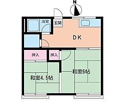 岸アパート[102号室]の間取り