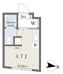 Growcel下落合 1階ワンルームの間取り