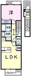 埼玉県越谷市大字大道の賃貸アパートの間取り